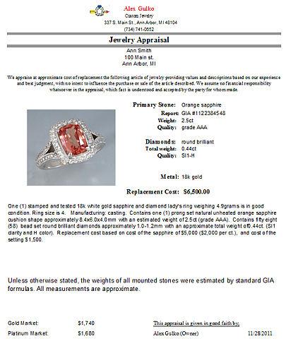 Alex gulko custom jewelry ann arbor mi for How do you get jewelry appraised